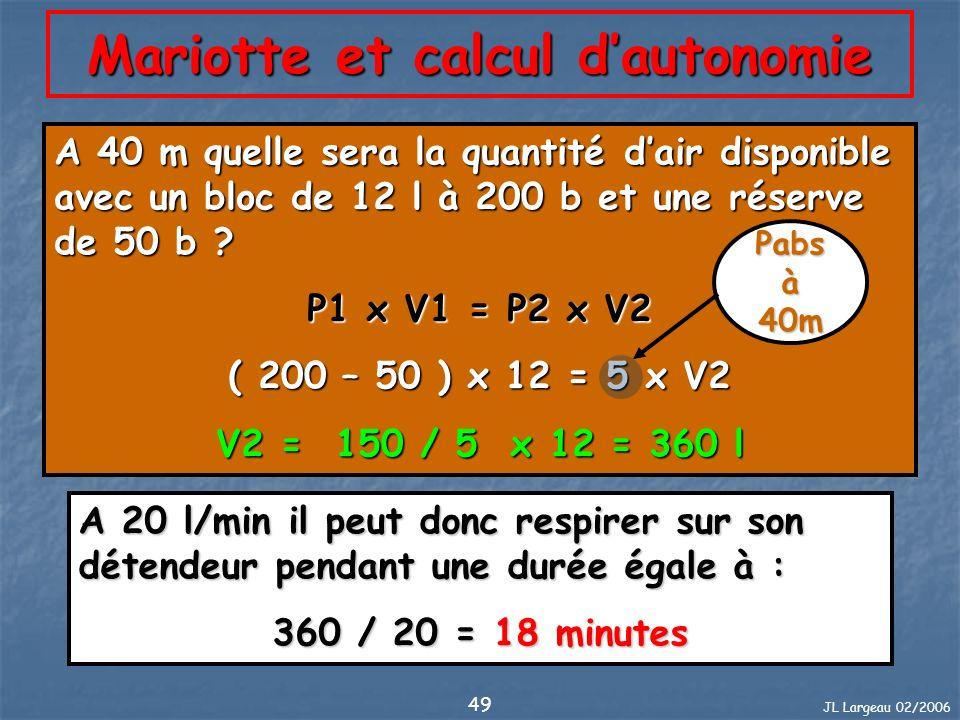 JL Largeau 02/2006 49 A 40 m quelle sera la quantité dair disponible avec un bloc de 12 l à 200 b et une réserve de 50 b ? P1 x V1 = P2 x V2 ( 200 – 5