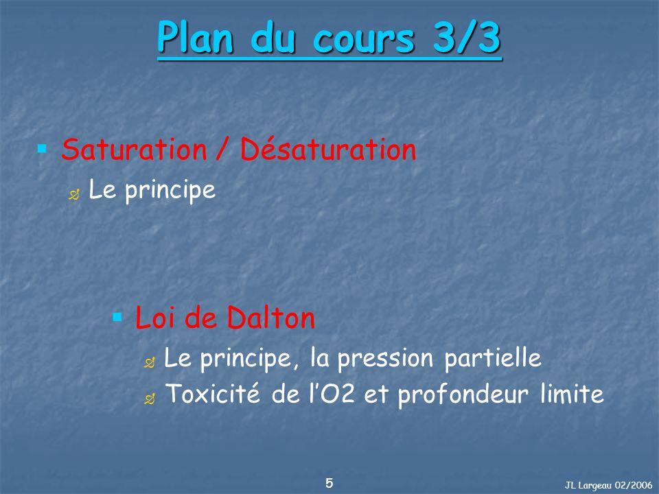 JL Largeau 02/2006 5 Plan du cours 3/3 Loi de Dalton Le principe, la pression partielle Toxicité de lO2 et profondeur limite Saturation / Désaturation