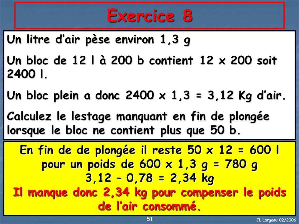 JL Largeau 02/2006 51 Exercice 8 Un litre dair pèse environ 1,3 g Un bloc de 12 l à 200 b contient 12 x 200 soit 2400 l. Un bloc plein a donc 2400 x 1