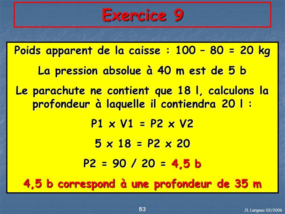 JL Largeau 02/2006 53 Exercice 9 Poids apparent de la caisse : 100 – 80 = 20 kg La pression absolue à 40 m est de 5 b Le parachute ne contient que 18