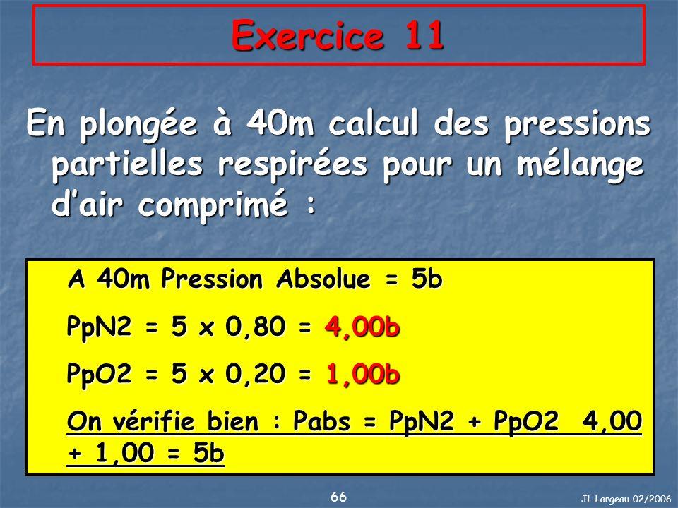 JL Largeau 02/2006 66 Exercice 11 En plongée à 40m calcul des pressions partielles respirées pour un mélange dair comprimé : A 40m Pression Absolue =
