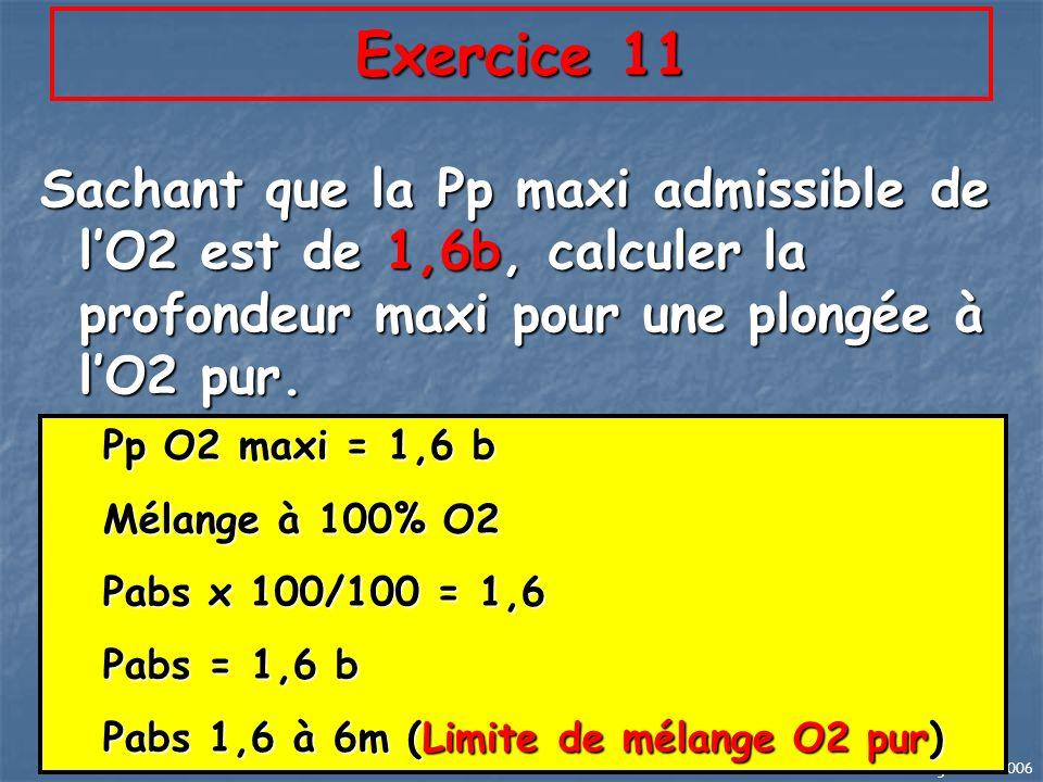 JL Largeau 02/2006 67 Exercice 11 Sachant que la Pp maxi admissible de lO2 est de 1,6b, calculer la profondeur maxi pour une plongée à lO2 pur. Pp O2