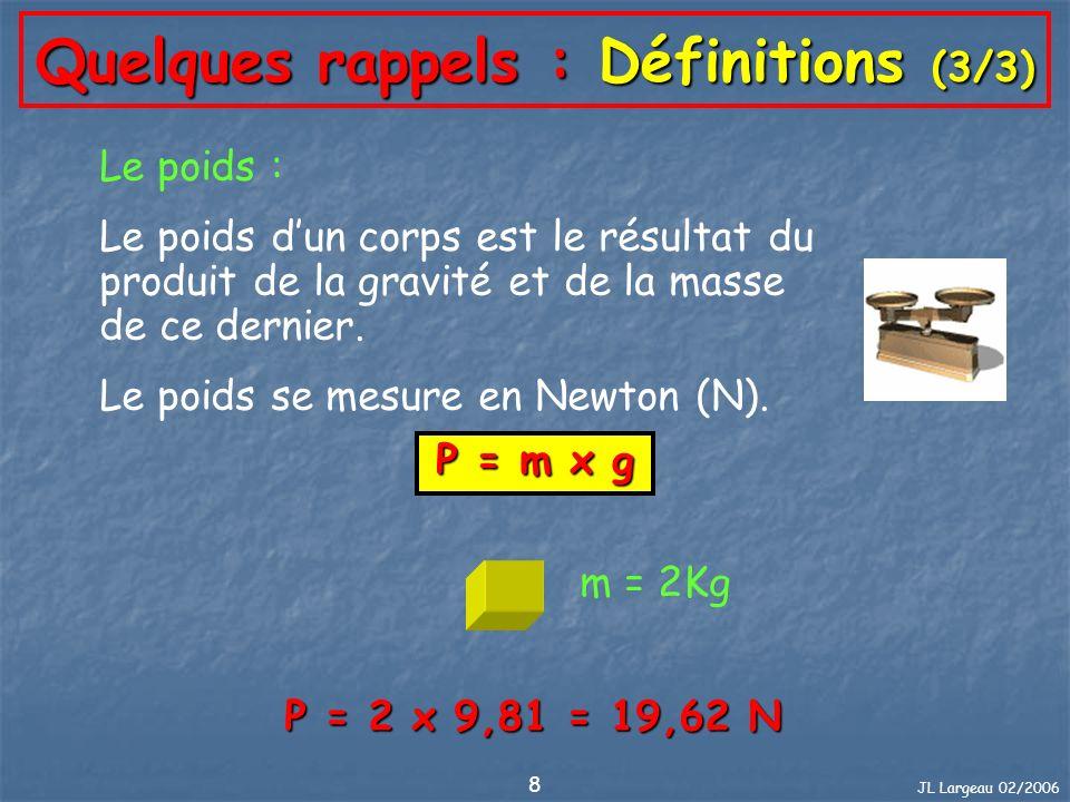JL Largeau 02/2006 8 Quelques rappels : Définitions (3/3) Le poids : Le poids dun corps est le résultat du produit de la gravité et de la masse de ce