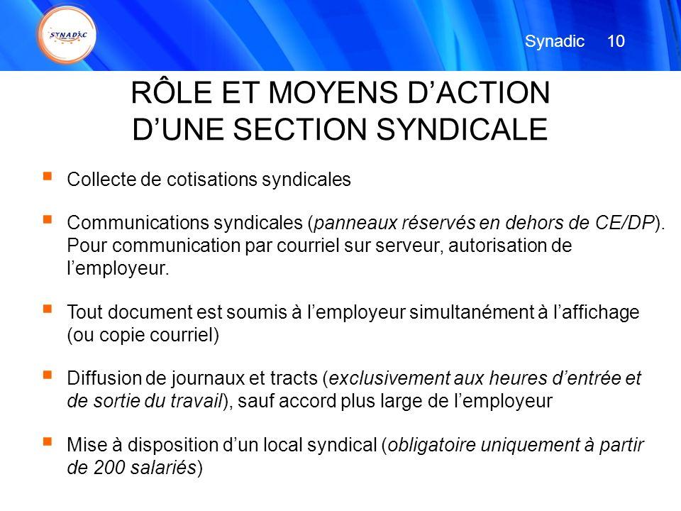 Collecte de cotisations syndicales Communications syndicales (panneaux réservés en dehors de CE/DP). Pour communication par courriel sur serveur, auto