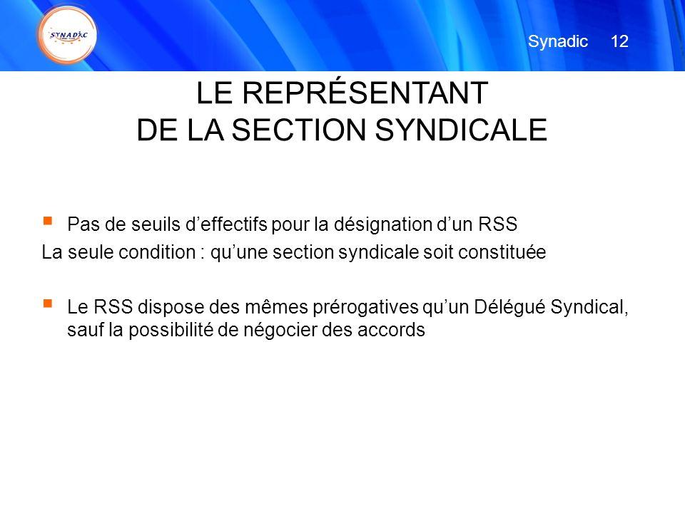 Pas de seuils deffectifs pour la désignation dun RSS La seule condition : quune section syndicale soit constituée Le RSS dispose des mêmes prérogative