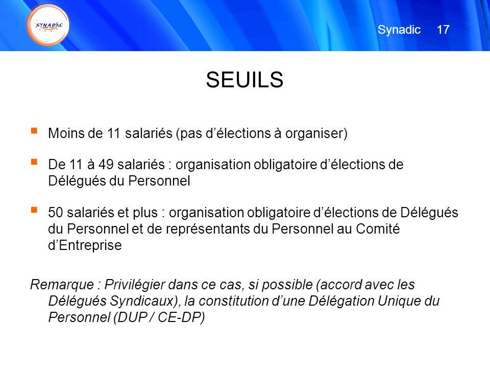 Moins de 11 salariés (pas délections à organiser) De 11 à 49 salariés : organisation obligatoire délections de Délégués du Personnel 50 salariés et pl