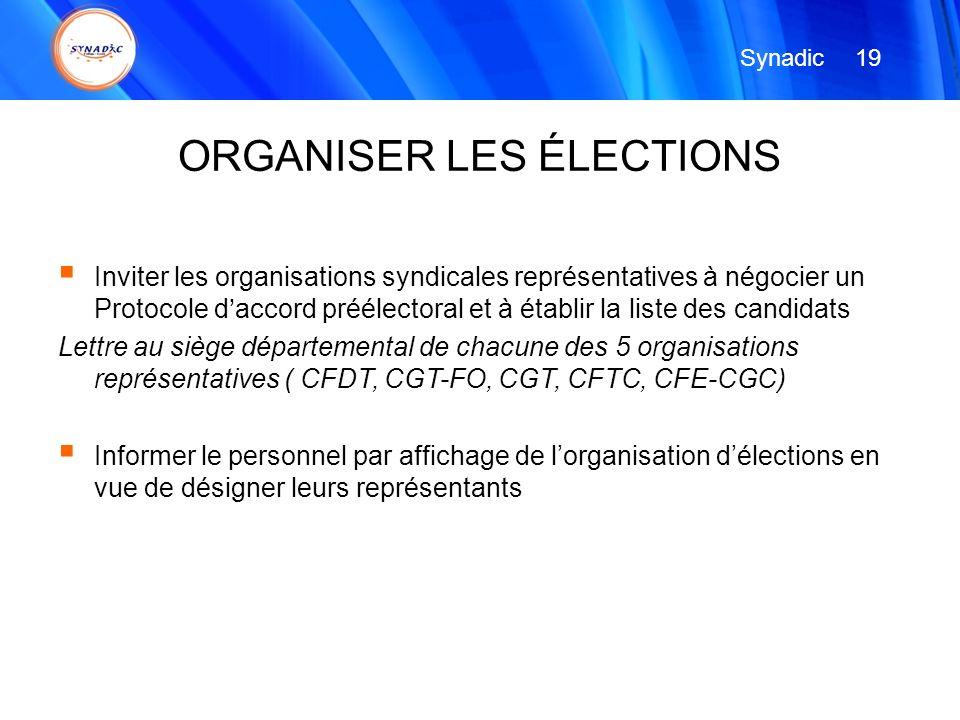 Inviter les organisations syndicales représentatives à négocier un Protocole daccord préélectoral et à établir la liste des candidats Lettre au siège