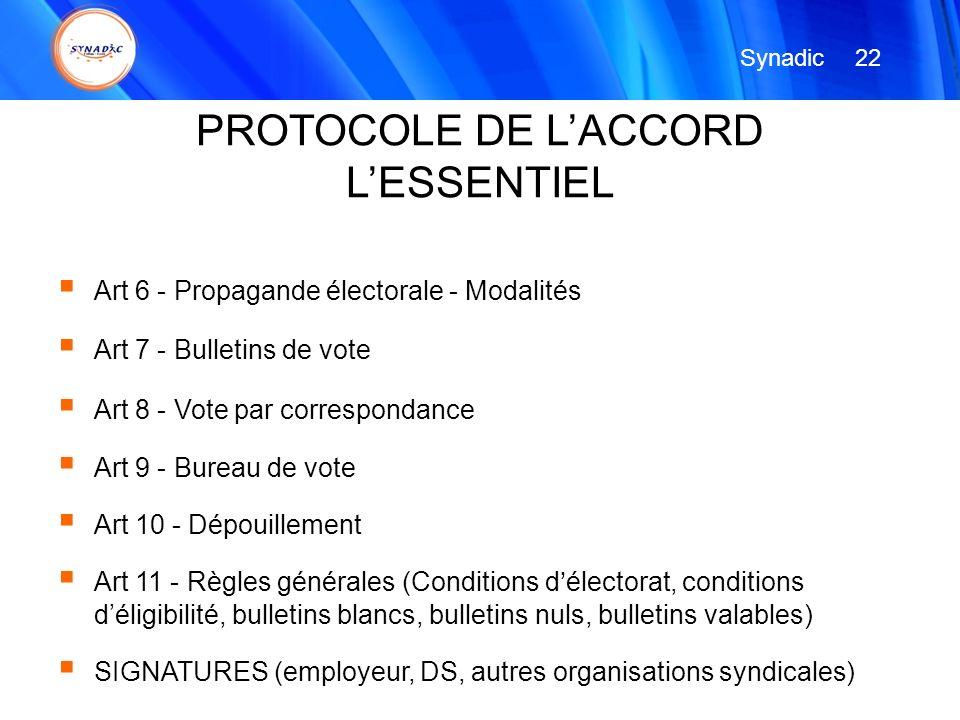Art 6 - Propagande électorale - Modalités Art 7 - Bulletins de vote Art 8 - Vote par correspondance Art 9 - Bureau de vote Art 10 - Dépouillement Art