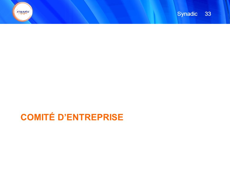 COMITÉ DENTREPRISE 33 Synadic