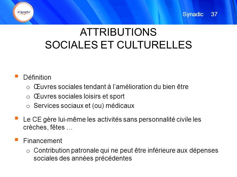 Définition o Œuvres sociales tendant à lamélioration du bien être o Œuvres sociales loisirs et sport o Services sociaux et (ou) médicaux Le CE gère lu