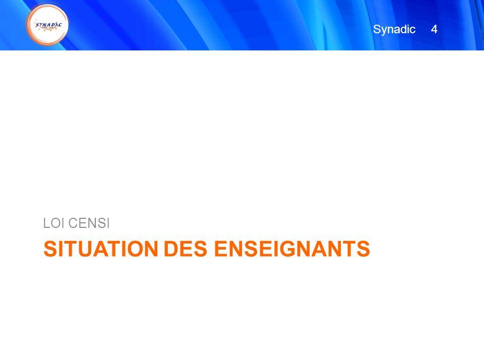 SITUATION DES ENSEIGNANTS LOI CENSI 4 4 Synadic
