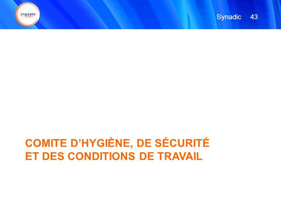 COMITE DHYGIÈNE, DE SÉCURITÉ ET DES CONDITIONS DE TRAVAIL 43 Synadic