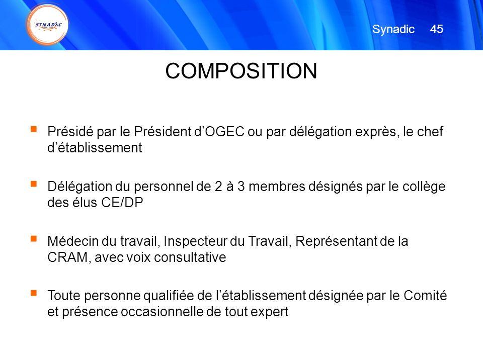 Présidé par le Président dOGEC ou par délégation exprès, le chef détablissement Délégation du personnel de 2 à 3 membres désignés par le collège des é