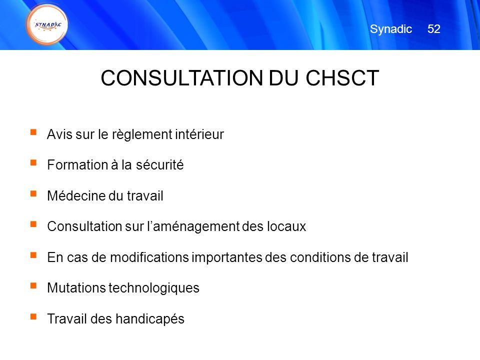 Avis sur le règlement intérieur Formation à la sécurité Médecine du travail Consultation sur laménagement des locaux En cas de modifications important