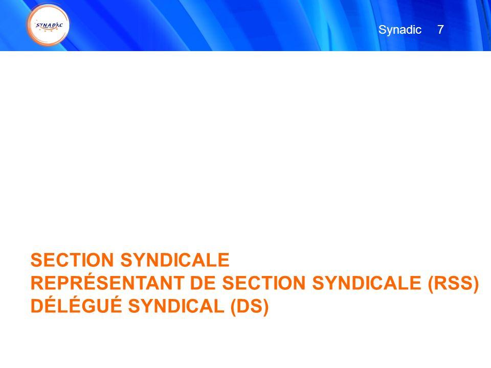 SECTION SYNDICALE REPRÉSENTANT DE SECTION SYNDICALE (RSS) DÉLÉGUÉ SYNDICAL (DS) 7 7 Synadic