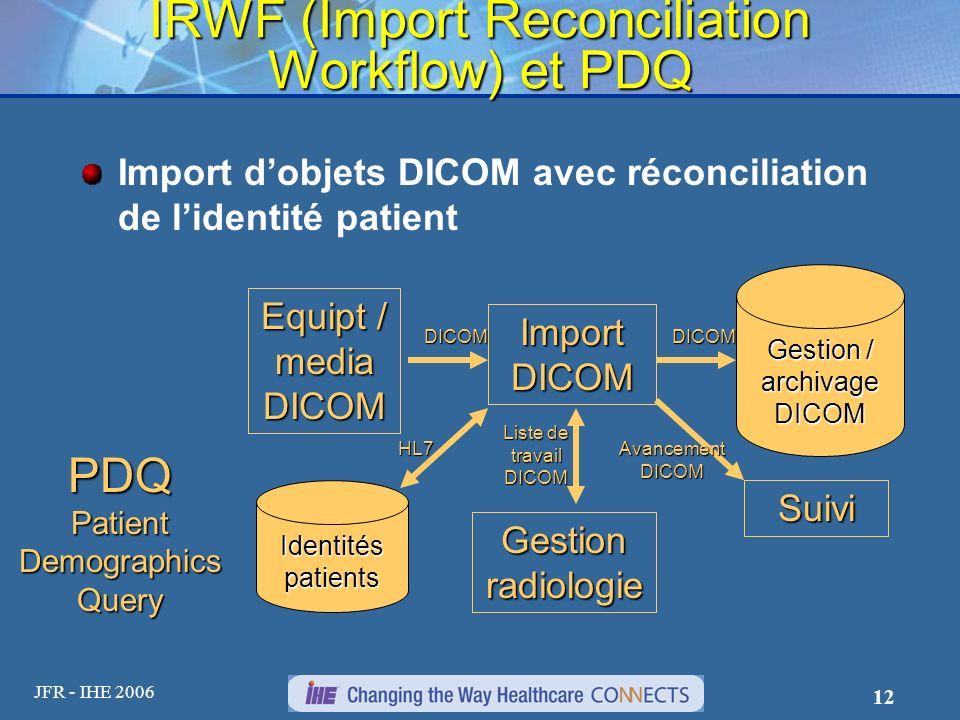JFR - IHE 2006 12 IRWF (Import Reconciliation Workflow) et PDQ Import dobjets DICOM avec réconciliation de lidentité patient Equipt / media DICOM DICO