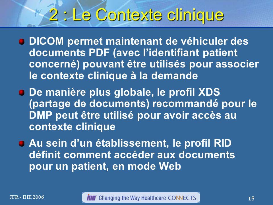 JFR - IHE 2006 15 2 : Le Contexte clinique DICOM permet maintenant de véhiculer des documents PDF (avec lidentifiant patient concerné) pouvant être ut