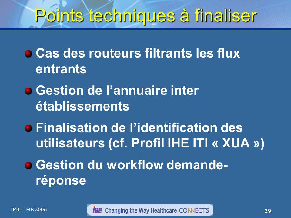 JFR - IHE 2006 29 Points techniques à finaliser Cas des routeurs filtrants les flux entrants Gestion de lannuaire inter établissements Finalisation de