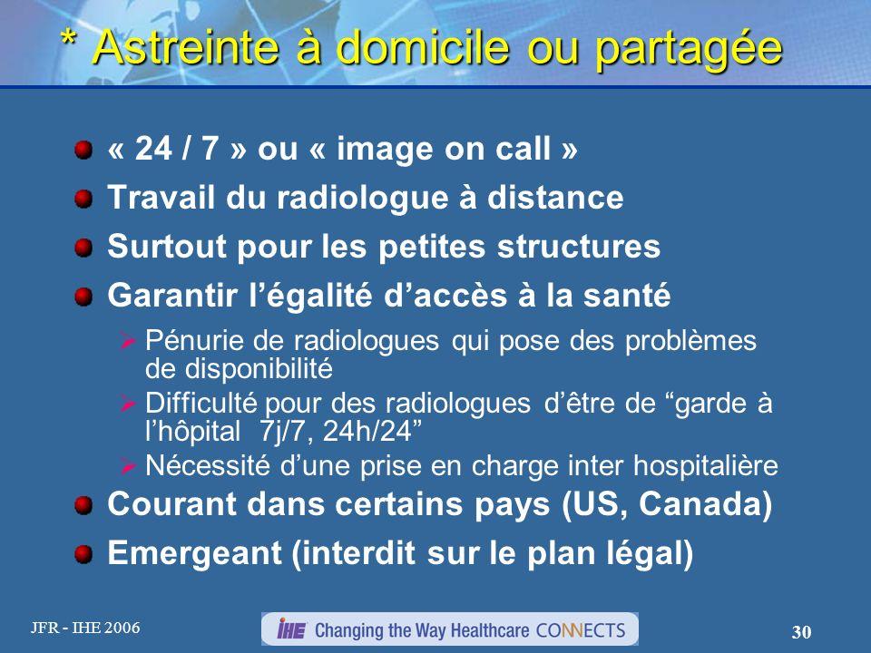 JFR - IHE 2006 30 * Astreinte à domicile ou partagée « 24 / 7 » ou « image on call » Travail du radiologue à distance Surtout pour les petites structu