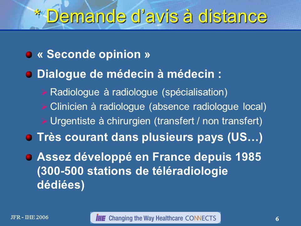 JFR - IHE 2006 6 * Demande davis à distance « Seconde opinion » Dialogue de médecin à médecin : Radiologue à radiologue (spécialisation) Clinicien à r