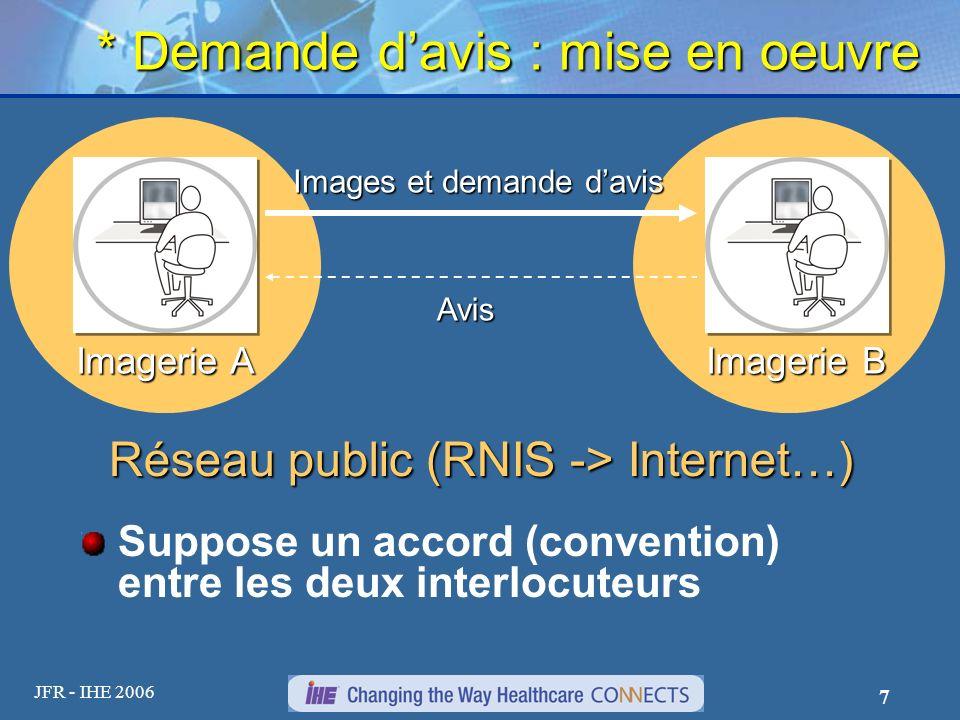 JFR - IHE 2006 7 * Demande davis : mise en oeuvre Suppose un accord (convention) entre les deux interlocuteurs Imagerie A Imagerie B Images et demande