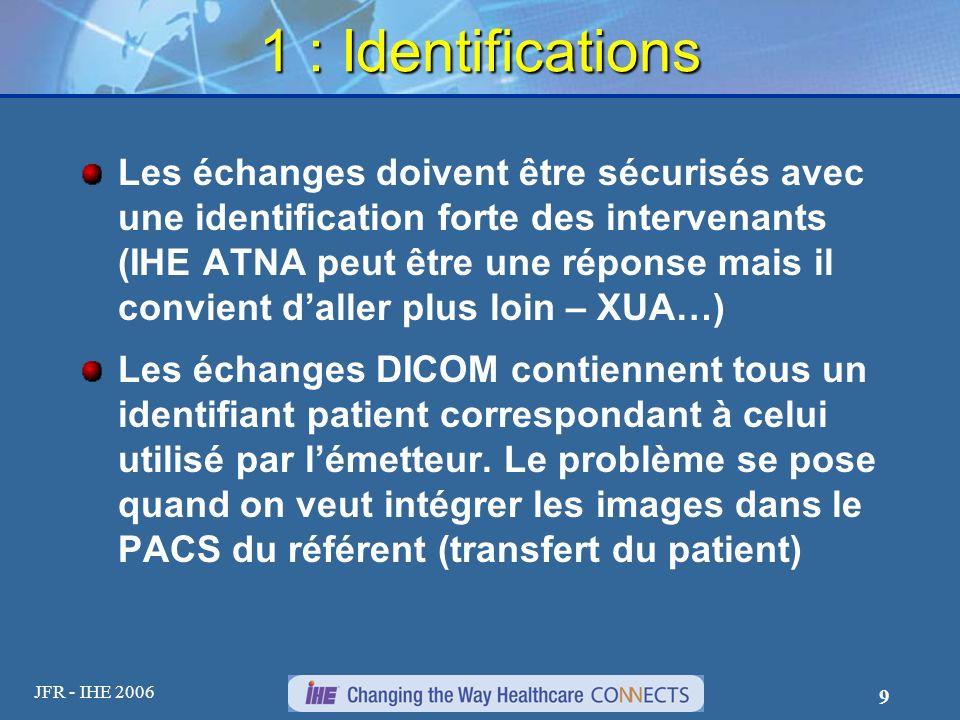 JFR - IHE 2006 9 1 : Identifications Les échanges doivent être sécurisés avec une identification forte des intervenants (IHE ATNA peut être une répons