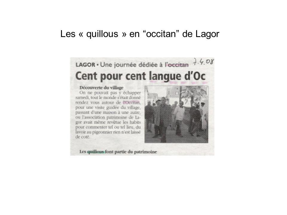 Les « quillous » en occitan de Lagor