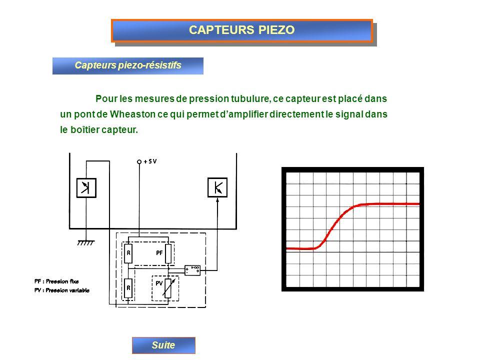 CAPTEURS PIEZO Capteurs piezo-résistifs Pour les mesures de pression tubulure, ce capteur est placé dans un pont de Wheaston ce qui permet damplifier