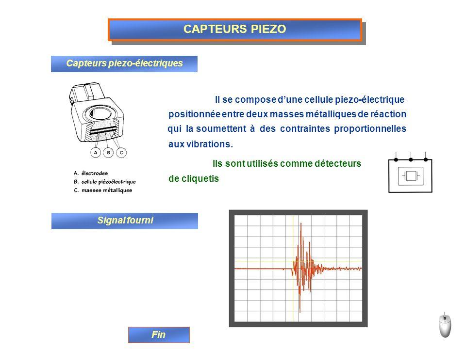 CAPTEURS PIEZO Capteurs piezo-électriques Il se compose dune cellule piezo-électrique positionnée entre deux masses métalliques de réaction qui la sou