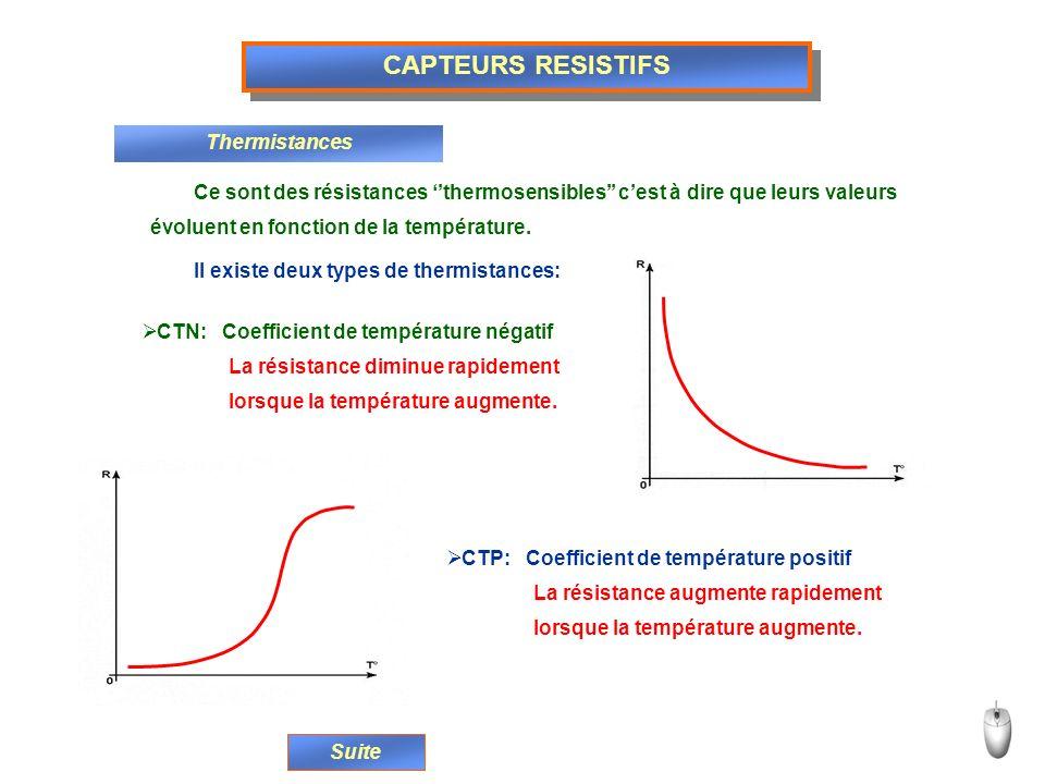 CAPTEURS RESISTIFS Thermistances Ce sont des résistances thermosensibles cest à dire que leurs valeurs évoluent en fonction de la température. Il exis