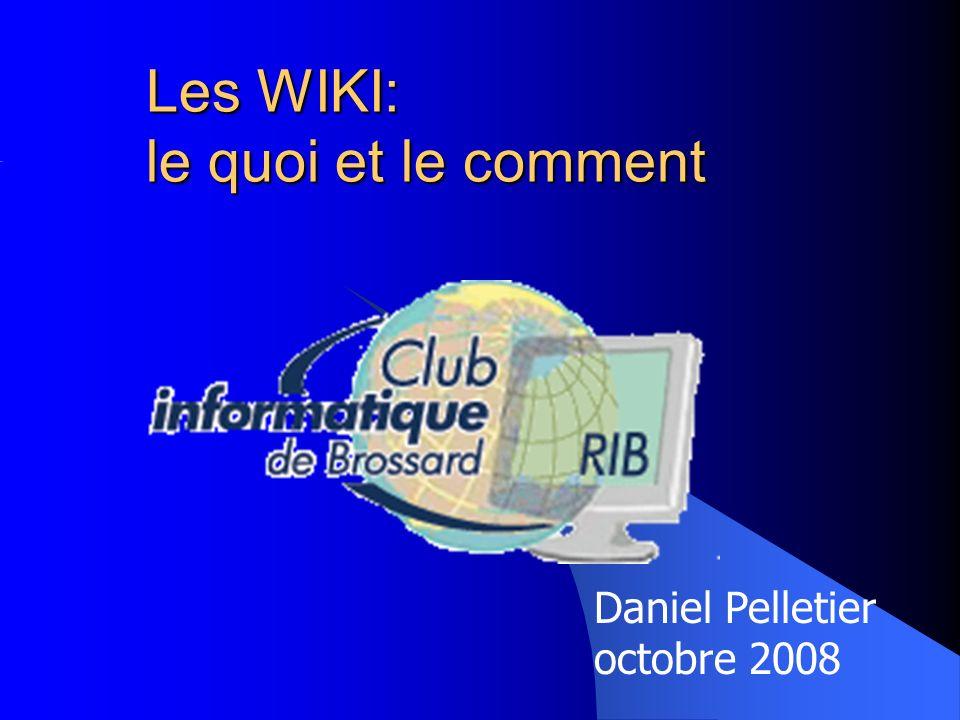 Club d Informatique de Brossard 12 Exemple de création de WIKI avec WikiSpaces (3) La confirmation montre alors la page daccueil (« Home ») de ladministrateur du WIKI.