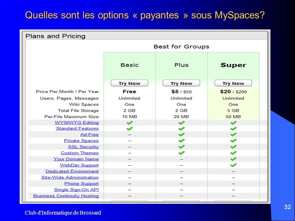 Club d'Informatique de Brossard 32 Quelles sont les options « payantes » sous MySpaces?