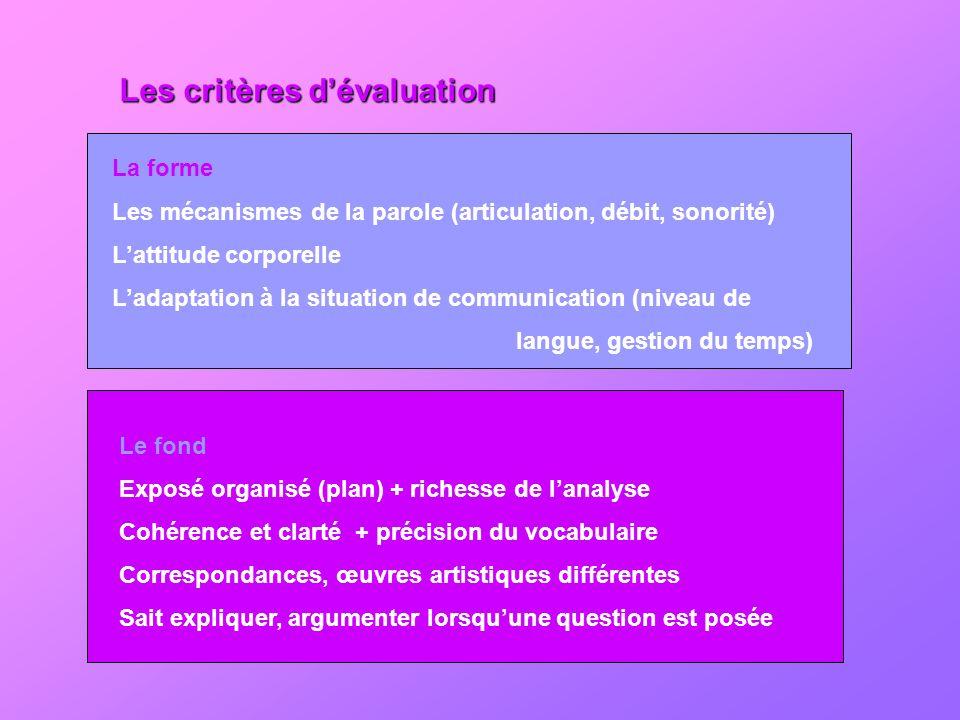 Les critères dévaluation La forme Les mécanismes de la parole (articulation, débit, sonorité) Lattitude corporelle Ladaptation à la situation de commu