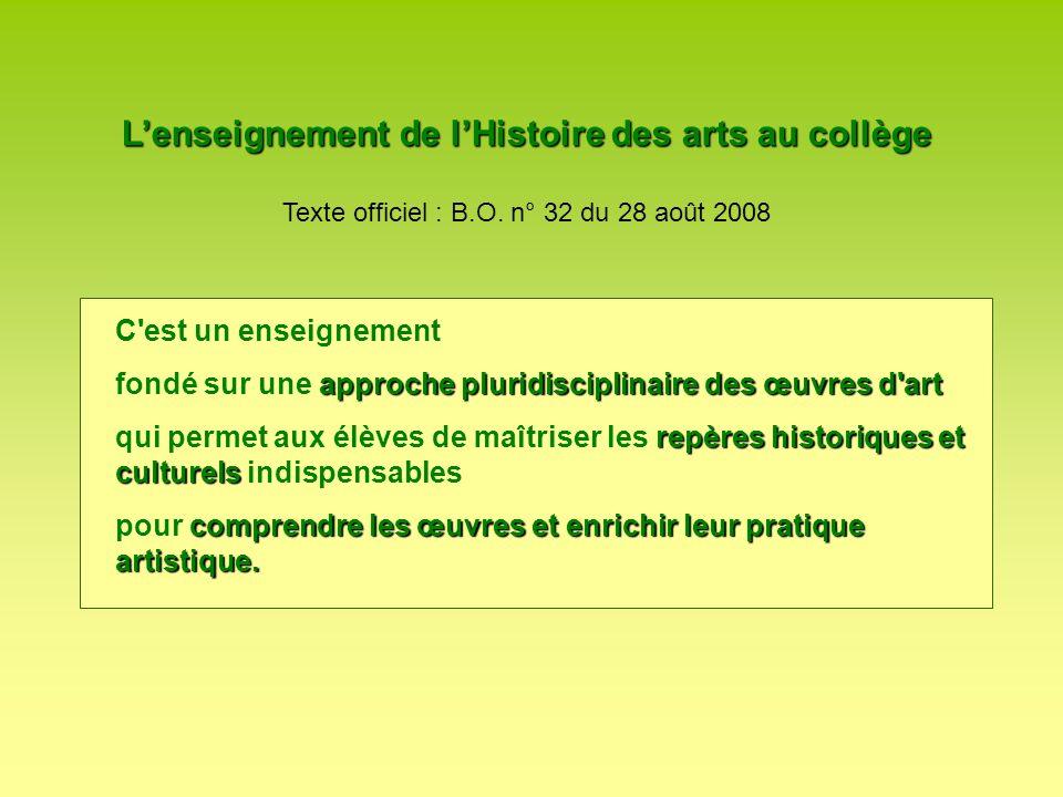 Lenseignement de lHistoire des arts au collège Texte officiel : B.O. n° 32 du 28 août 2008 C'est un enseignement approche pluridisciplinairedes œuvres