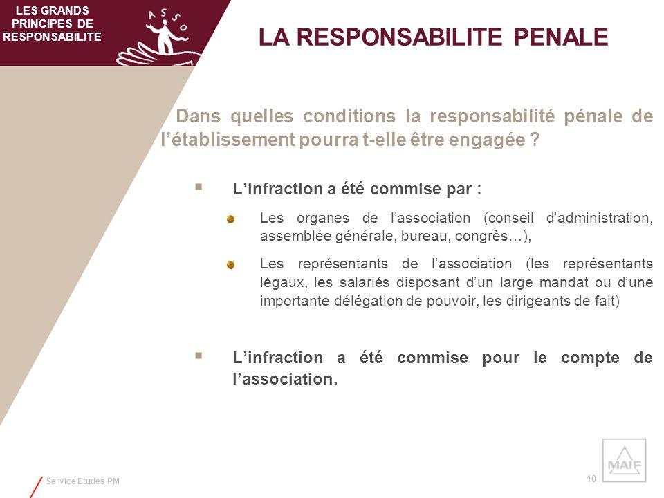 Service Etudes PM 10 Dans quelles conditions la responsabilité pénale de létablissement pourra t-elle être engagée ? Linfraction a été commise par : L