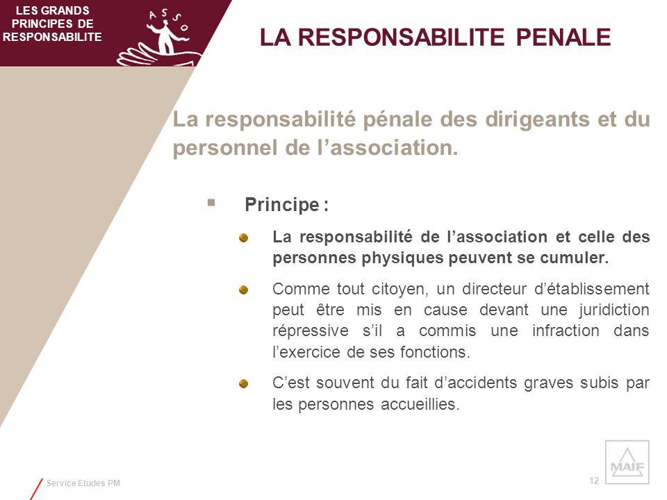 Service Etudes PM 12 La responsabilité pénale des dirigeants et du personnel de lassociation. Principe : La responsabilité de lassociation et celle de