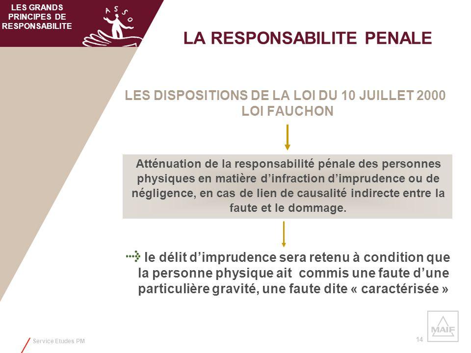Service Etudes PM 14 LES DISPOSITIONS DE LA LOI DU 10 JUILLET 2000 LOI FAUCHON LA RESPONSABILITE PENALE Atténuation de la responsabilité pénale des pe