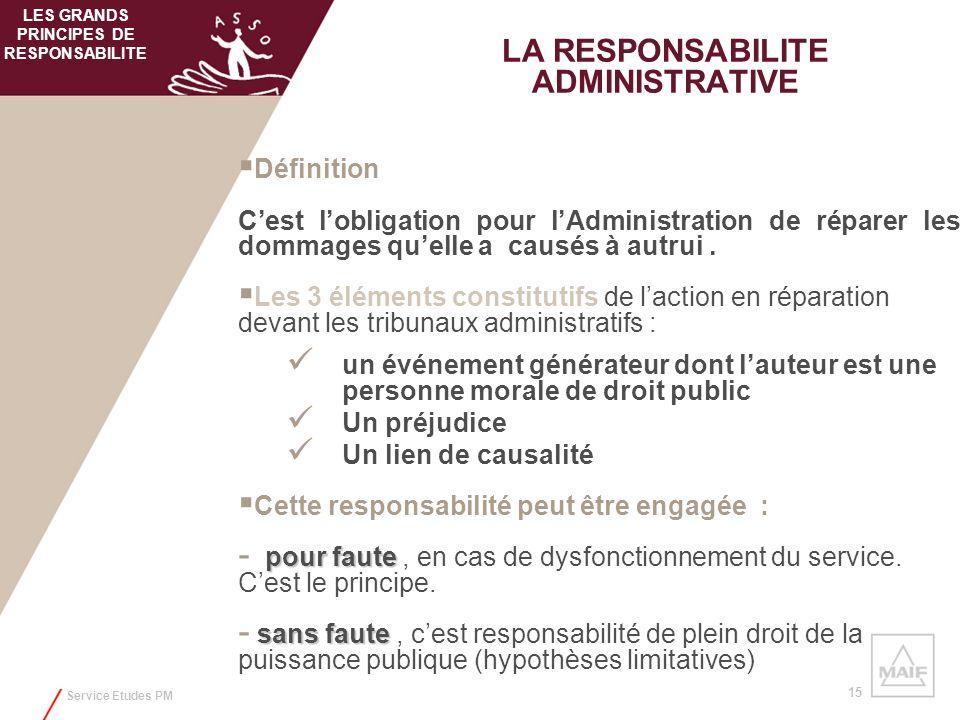 Service Etudes PM 15 LA RESPONSABILITE ADMINISTRATIVE Définition Cest lobligation pour lAdministration de réparer les dommages quelle a causés à autru