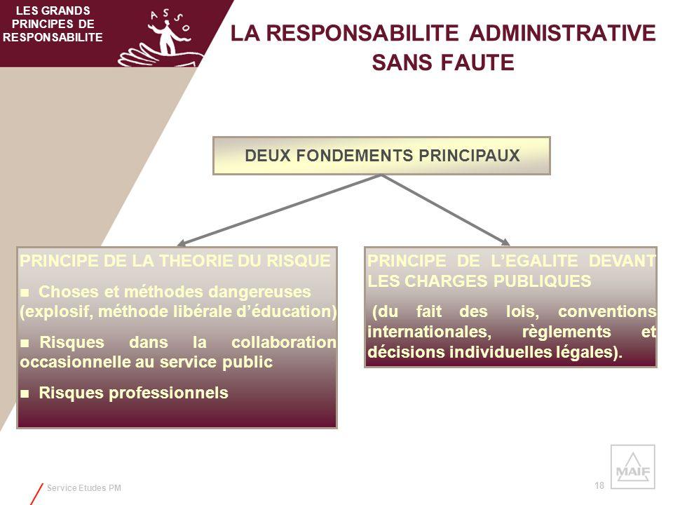 Service Etudes PM 18 LA RESPONSABILITE ADMINISTRATIVE SANS FAUTE DEUX FONDEMENTS PRINCIPAUX PRINCIPE DE LA THEORIE DU RISQUE Choses et méthodes danger