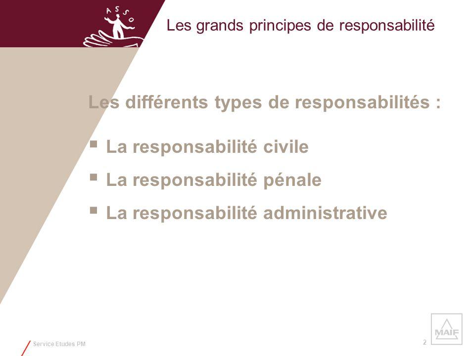 Service Etudes PM 2 Les grands principes de responsabilité Les différents types de responsabilités : La responsabilité civile La responsabilité pénale
