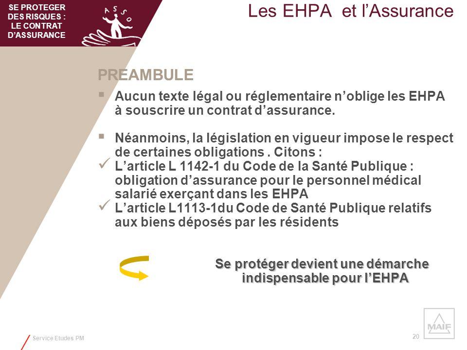 Service Etudes PM 20 Les EHPA et lAssurance PREAMBULE Aucun texte légal ou réglementaire noblige les EHPA à souscrire un contrat dassurance. Néanmoins