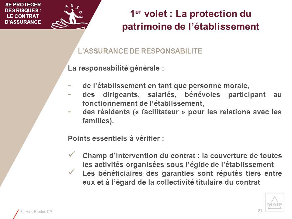 Service Etudes PM 21 1 er volet : La protection du patrimoine de létablissement LASSURANCE DE RESPONSABILITE La responsabilité générale : - de létabli