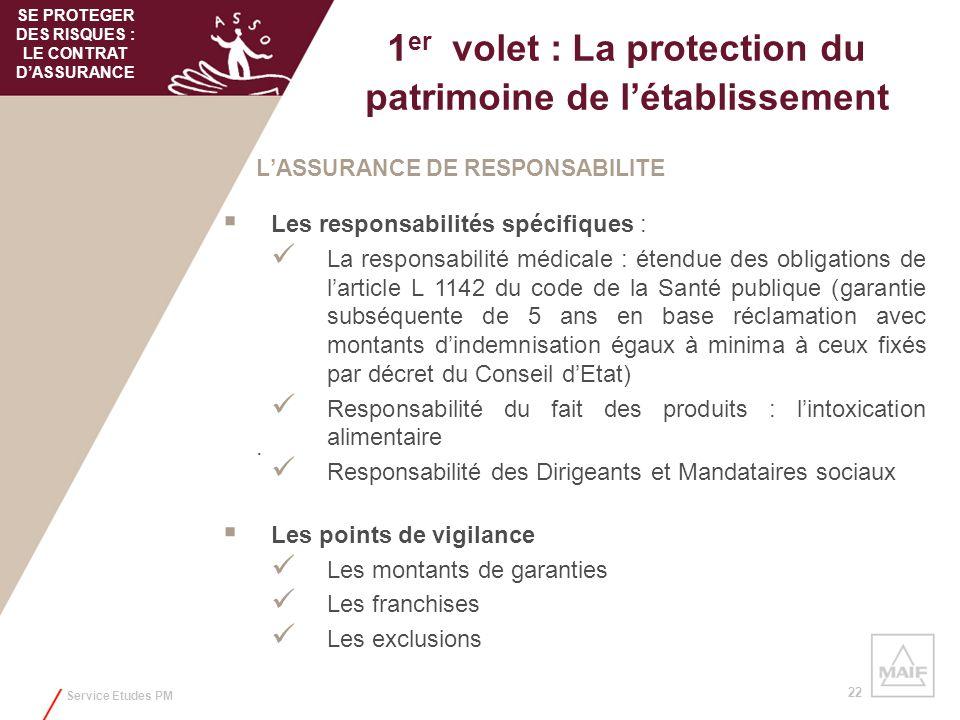 Service Etudes PM 22 1 er volet : La protection du patrimoine de létablissement LASSURANCE DE RESPONSABILITE Les responsabilités spécifiques : La resp