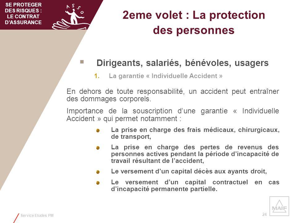 Service Etudes PM 24 2eme volet : La protection des personnes Dirigeants, salariés, bénévoles, usagers 1.La garantie « Individuelle Accident » En deho