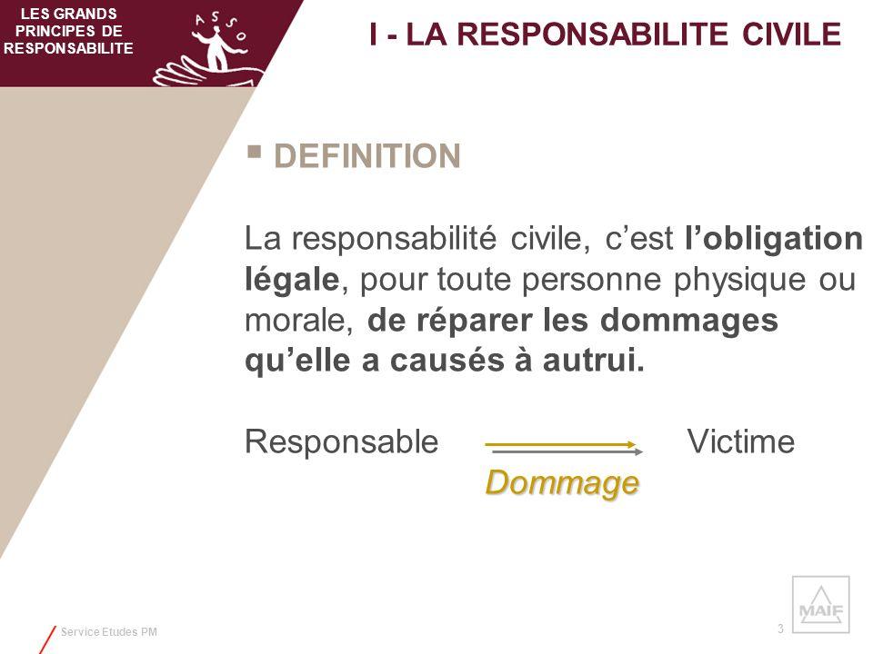Service Etudes PM 3 DEFINITION La responsabilité civile, cest lobligation légale, pour toute personne physique ou morale, de réparer les dommages quel