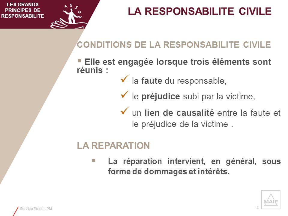 Service Etudes PM 4 CONDITIONS DE LA RESPONSABILITE CIVILE Elle est engagée lorsque trois éléments sont réunis : la faute du responsable, le préjudice