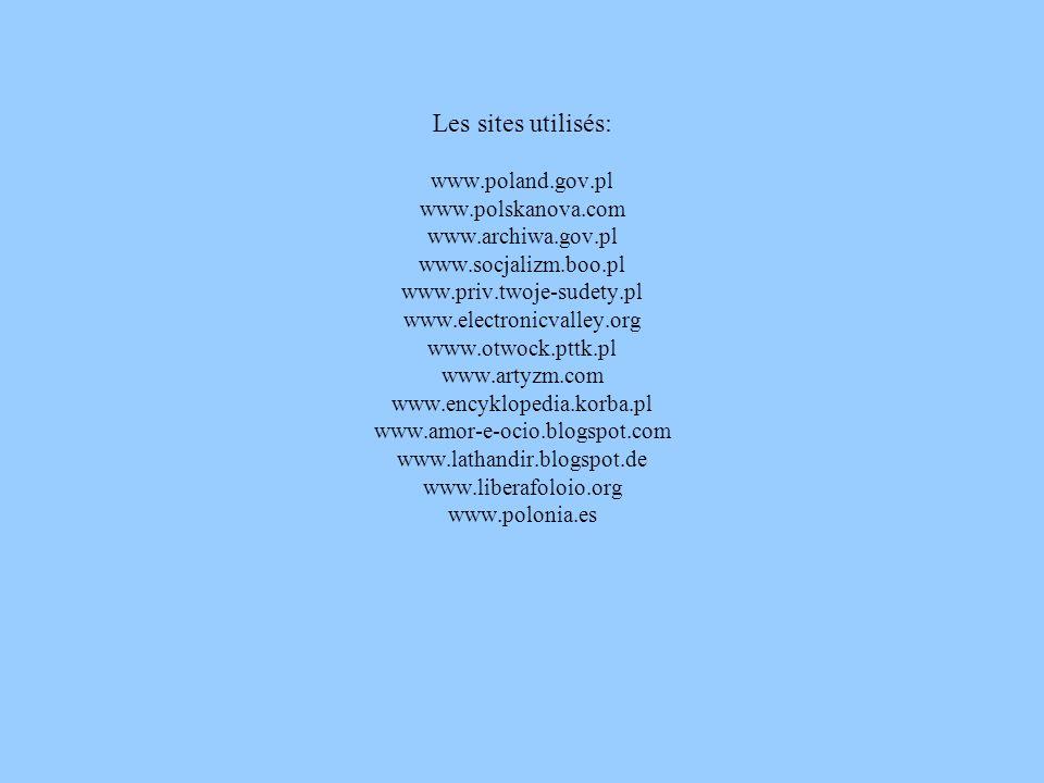 Les sites utilisés: www.poland.gov.pl www.polskanova.com www.archiwa.gov.pl www.socjalizm.boo.pl www.priv.twoje-sudety.pl www.electronicvalley.org www.otwock.pttk.pl www.artyzm.com www.encyklopedia.korba.pl www.amor-e-ocio.blogspot.com www.lathandir.blogspot.de www.liberafoloio.org www.polonia.es