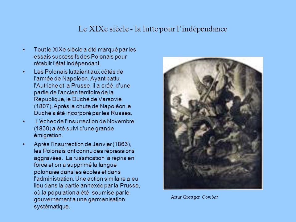 Le XIXe siècle - la lutte pour lindépendance Tout le XIXe siècle a été marqué par les essais successifs des Polonais pour rétablir létat indépendant.