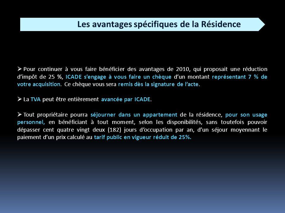 Les avantages spécifiques de la Résidence Pour continuer à vous faire bénéficier des avantages de 2010, qui proposait une réduction dimpôt de 25 %, ICADE sengage à vous faire un chèque dun montant représentant 7 % de votre acquisition.