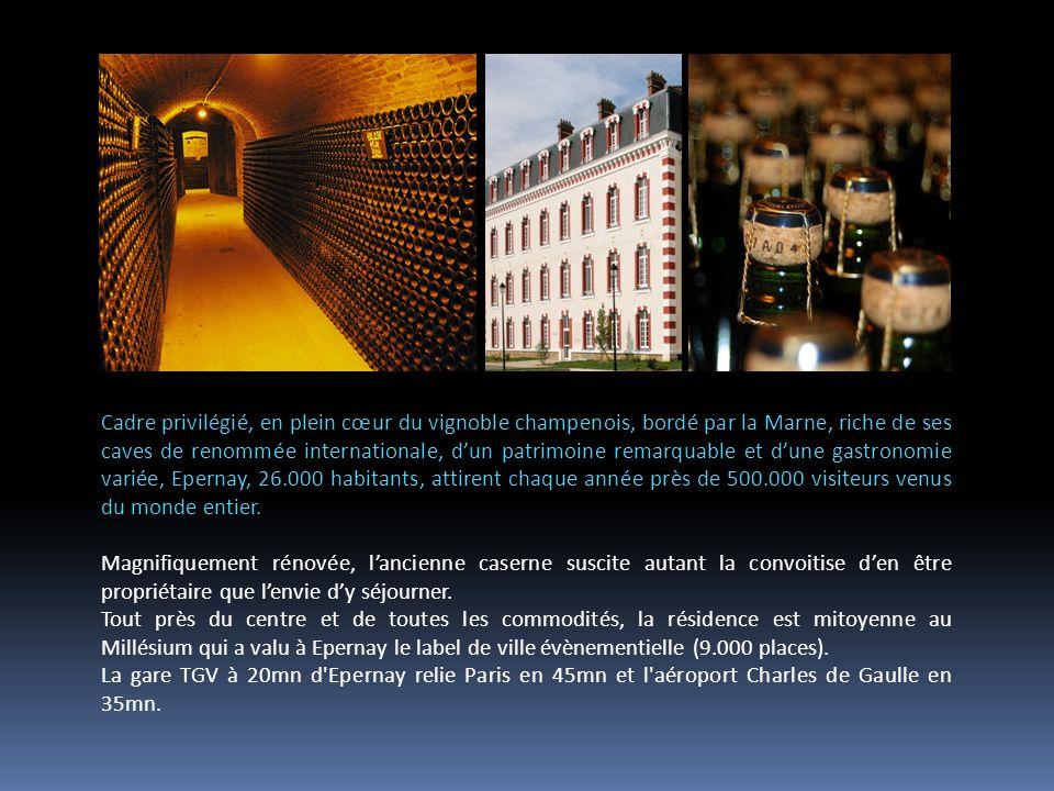 Cadre privilégié, en plein cœur du vignoble champenois, bordé par la Marne, riche de ses caves de renommée internationale, dun patrimoine remarquable et dune gastronomie variée, Epernay, 26.000 habitants, attirent chaque année près de 500.000 visiteurs venus du monde entier.